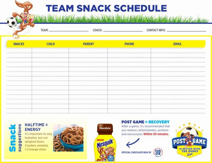 Youth Sports Snack Schedule Template Unique Snack Schedule Templates In 2020 Team Snacks Sports Snacks Schedule Template