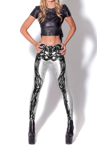 Get into the punk rocker chic trend with our White Steampunk Skeleton Leggings. This skeleton legging lends style to any look with its edgy and fashion forward pattern. The detailed skeleton printed is perfect for a rebel girl looking for cool casual style with an edge.  The premium laser print features a sexy and eye catching skeleton design.  Our White Steampunk skeleton Leggings is a sexy and stylish way to show off your spirit. With so many style possibilities you do not want to miss out…