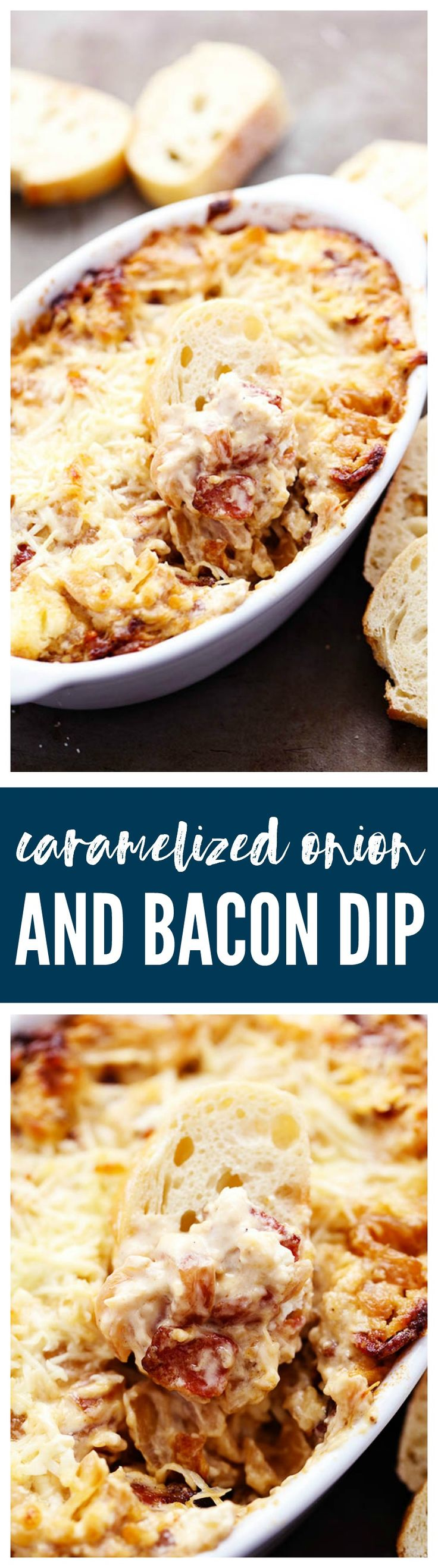 Delicious and sweet caramelized onions inside this incredible creamy and cheesy dip! With the added bacon this dip is sure to be a huge hit at your next party!