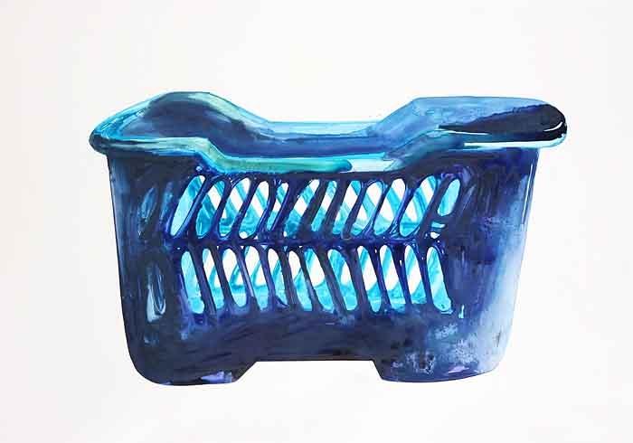 Mandje in Blauw, Acryl op Yupo, 70 x 100 cm