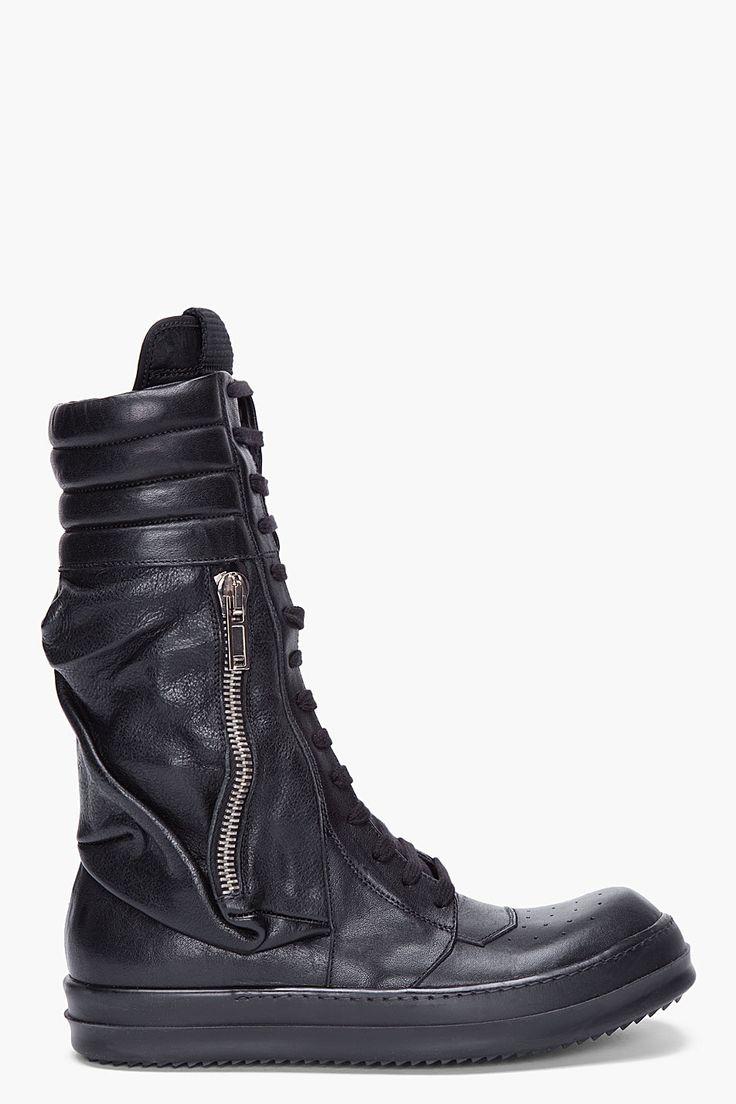 RICK OWENS Black Cargo Basket Boots