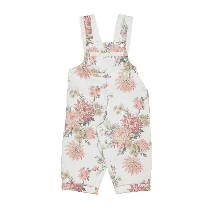 Salmon Flowers Jumpsuit These jumpsuits are so cute and at the same time so confortable. Full of adorable details, little ruffle on the straps and big bow at the back. Have a look at all the lovely patterns available. Fully lined. 100% cotton