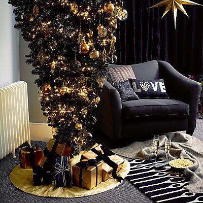 John Lewis reversible upside down black Christmas tree | Decorated Christmas  Trees | Christmas, Black christmas trees, Christmas decorations - John Lewis Reversible Upside Down Black Christmas Tree Decorated
