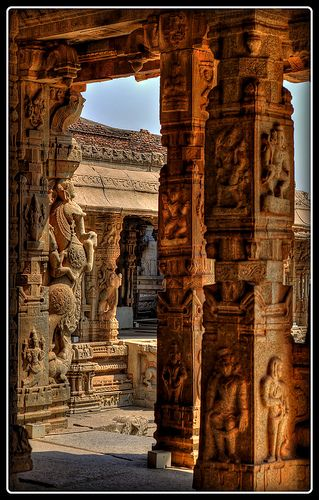ॐ Vittala HinduTemple Pillars, Hampi - Home to the ancient Empire of Vijanagara,  India 卐