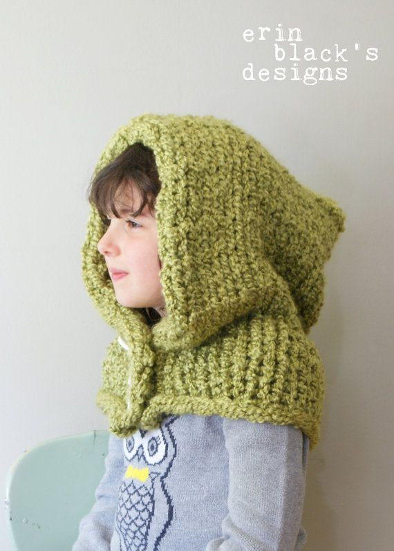 DIY Knitting PATTERN Chunky Knit Hood in by ErinBlacksDesigns