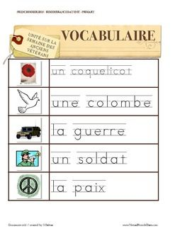 Remembrance Day Sight Words / Word Walls FRENCH The sight words are included in the Remembrance Day book.