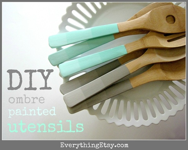 DIY Ombre Painted Utensils Tutorial - EverythingEtsy.com: Green Home, Diy Ombre, Mothers Day Gifts, Gifts Ideas, Paintings Utensils, Diy Home Crafts, Diy Gifts, Wooden Utensils, Ombre Paintings