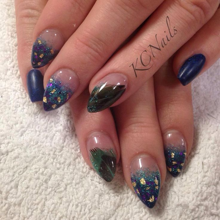 peacock nails. blue purple
