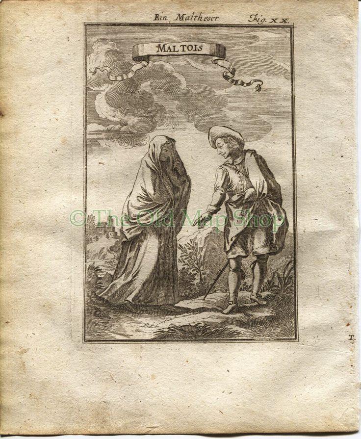 "1719 Manesson Mallet ""Maltois"" Malta, Maltese People Man Woman Costune, Antique Print by TheOldMapShop on Etsy"