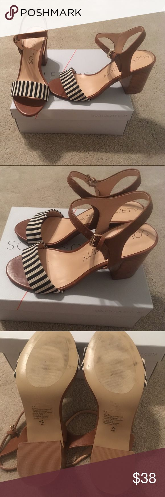NIB Sole Society Sandals size 7.5 I've only worn these around the house, new in box sole society heels. These nautical strappy Sandals are perfect for the beach or general summer wear. Sole Society Shoes