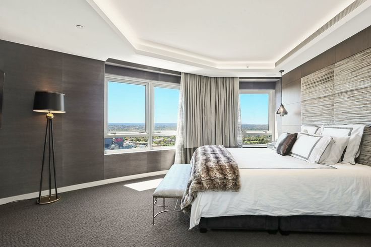 North Sydney Penthouse Master Bedroom, designed by Jodie Carter Design. Photo by Savills Real Estate, Double Bay