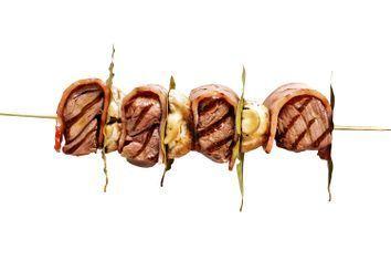 Beef, bacon and mushroom kebabs