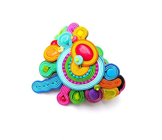 Colorful Soutache Bracelet Hand Embroidred Jewelry by StudioGianna