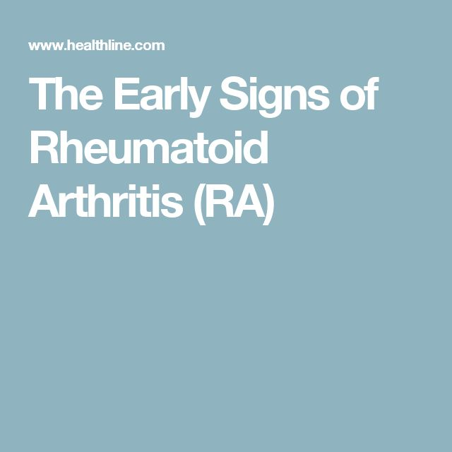 The Early Signs of Rheumatoid Arthritis (RA)