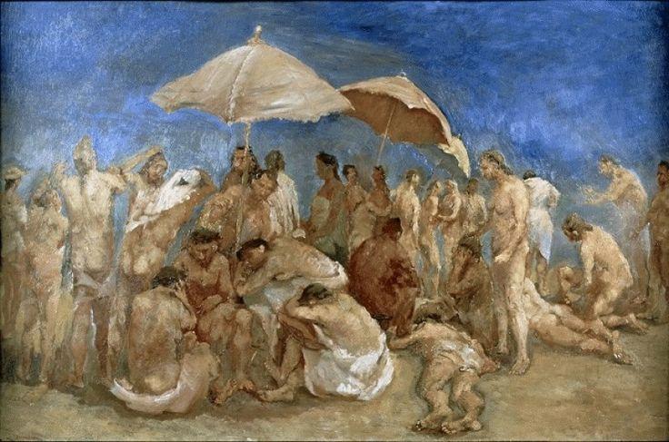 Fausto Pirandello - Spiaggia affollata, 1939