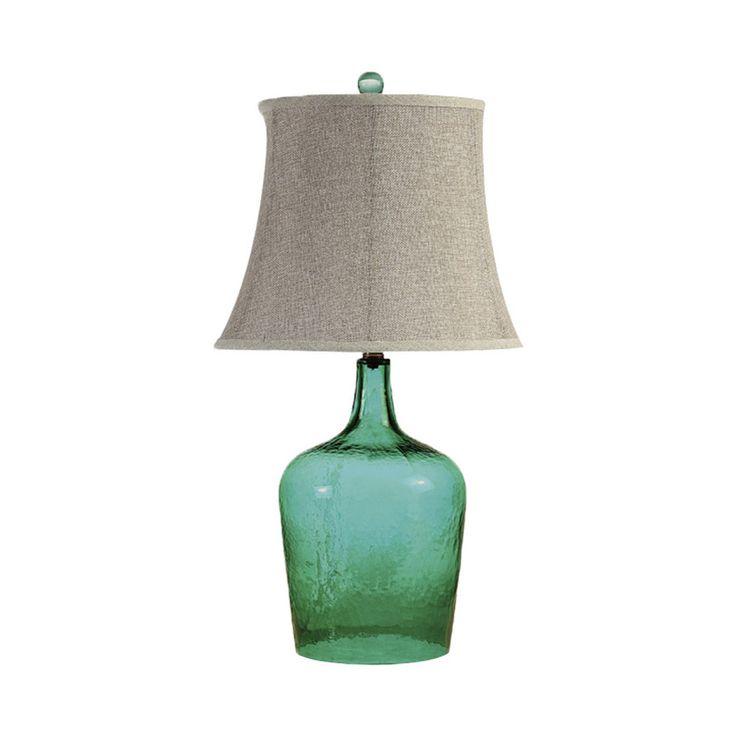 ЛАМПА Gramercy Основание в виде бутыли из изумрудно-зеленого стекла, абажур льняного цвета венчает шарик из того же стекла.