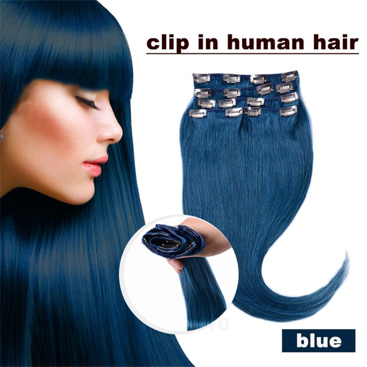 Aliexpress Buy Clip In Natural Human Hair Extension Color Blue 70g 80g 100g