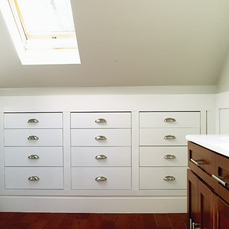 Drawers built into knee wall