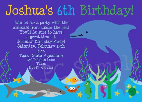 Aquarium Birthday Invitation Shark Dolphin Aquarium ...