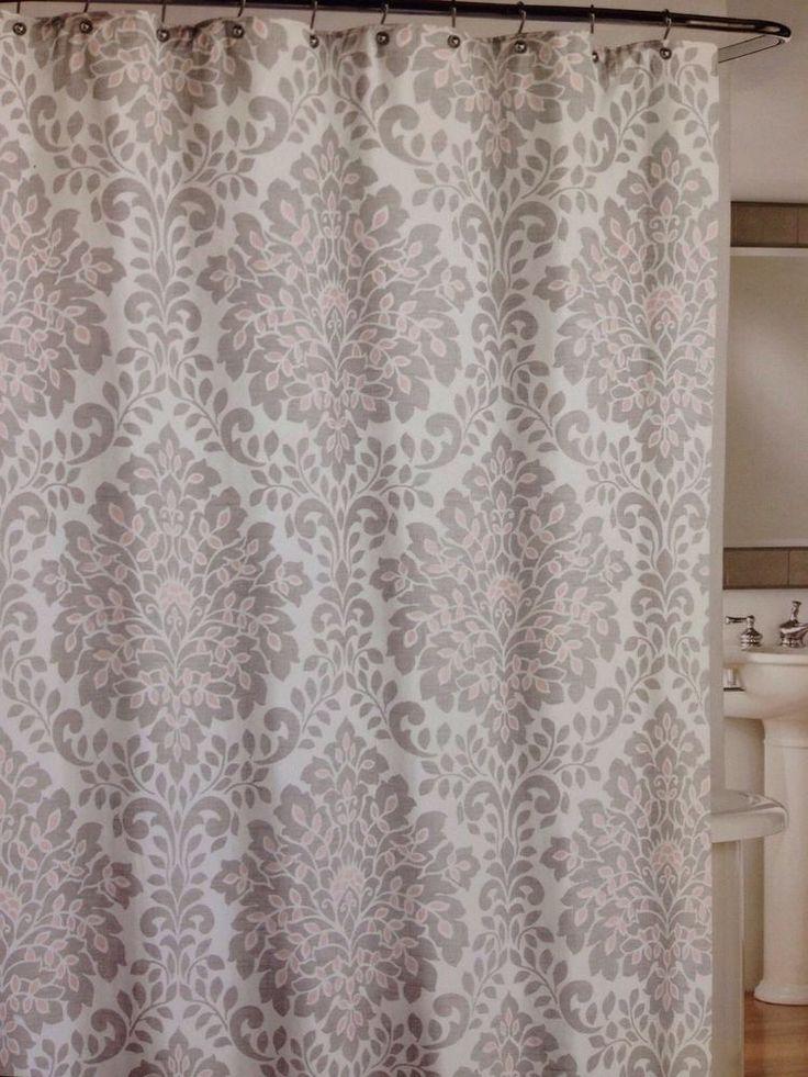 Cynthia Rowley Scroll Medallion Fabric Shower Curtain Peach Pink Grey 100 Cotton CynthiaRowley Moroccan