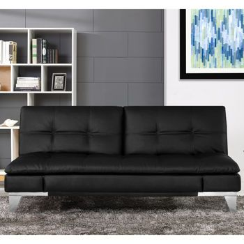 """Parklane Bonded Leather Euro Lounger - Black, $600 -- """"The Parklane offers the versatility of a split back lounger, sofa or flat-bed."""" -- like a fancy futon"""
