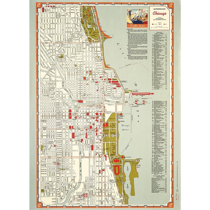 chicago points of interest map wrapping paper 19 14 x 27 1