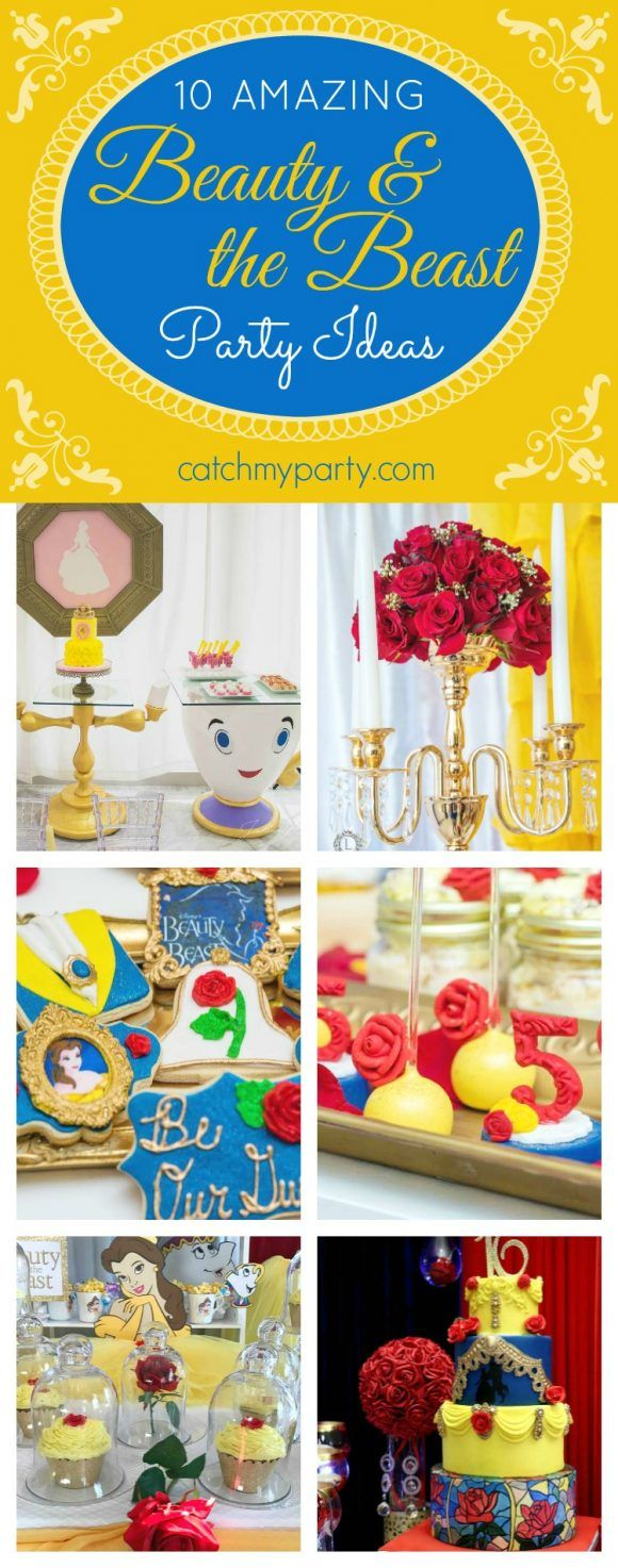 10 Amazing Beauty and the Beast Party Ideas including ideas for cakes, cupcakes, decorations, party favors, etc. | CatchMyparty.com