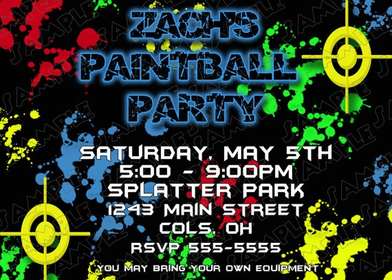 109 best paintball party images on pinterest | paintball birthday, Birthday invitations