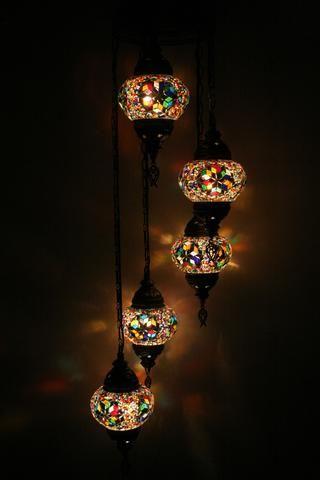 Spiral Turkish Mosaic Five Ball Chandelier