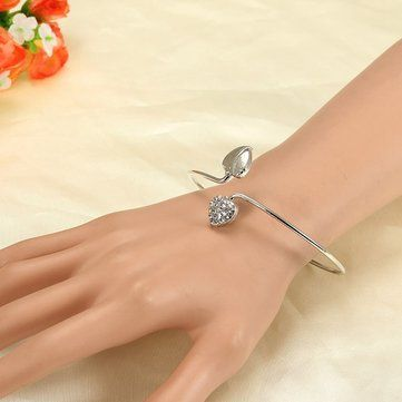Silver Double Love Heart Cuff Bracelet Bangle Woman Jewelry at Banggood