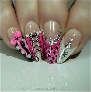 Luminous Nails: Hot Pink Corset Nails, Leopard Print, Polka Dots, 3D Bow, + Ornament...