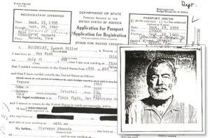 Ernest Hemmingway, passport application and photo
