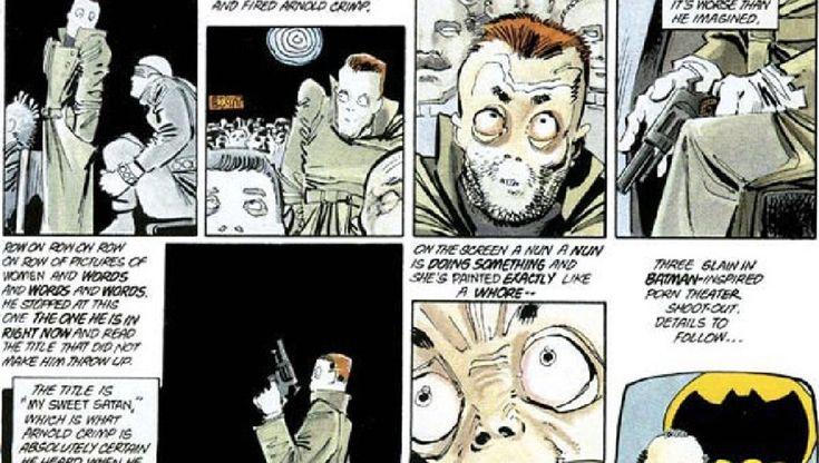 """Un cómic de 1986 predice un tiroteo a un cine en 2012. - En el cómic original de """"The Dark Knight Returns"""", un personaje va a un cine pornográfico y realiza un tiroteo dentro del lugar, y James Eagan Holmes asistió a un cine en Aurora, Colorado, realizando un tiroteo que dejó a 70 personas heridas y 12 muertas."""