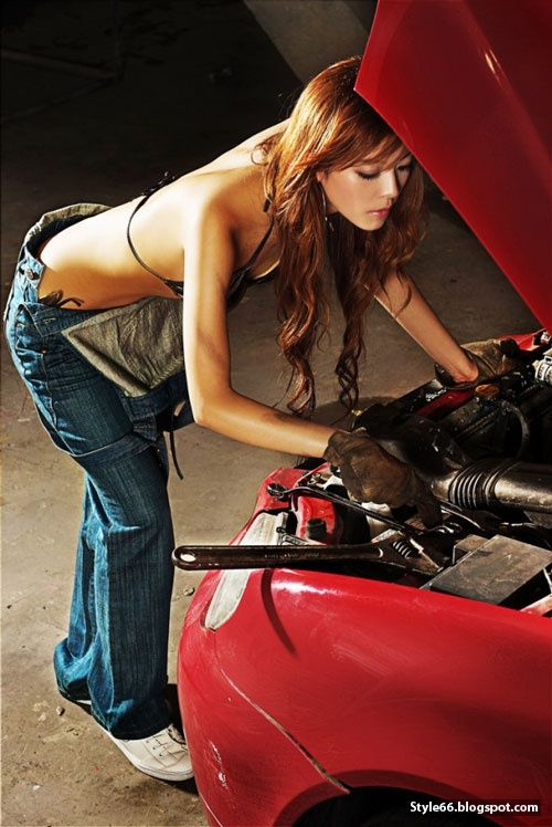 sexy women with blue cars