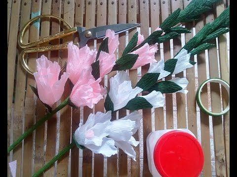 DIY - how to make Gladiolus paper Flowers - làm hoa lay ơn từ giấy nhún - YouTube