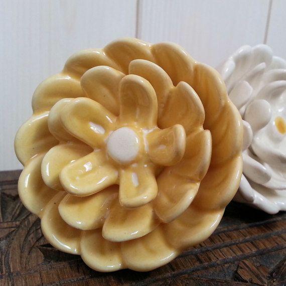 Beautiful Large Yellow Waterlily Flower Ceramic Furniture Door