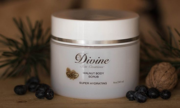 Walnut Body Scrub - Our body scrub will remove dead cells from the skin, leaving natural moisture. Our formula combines walnut; exfoliating Sugar, sea salt, and a special moisturizing blend of pharmaceutical grade Oils. | Divine Skin Creation's Product