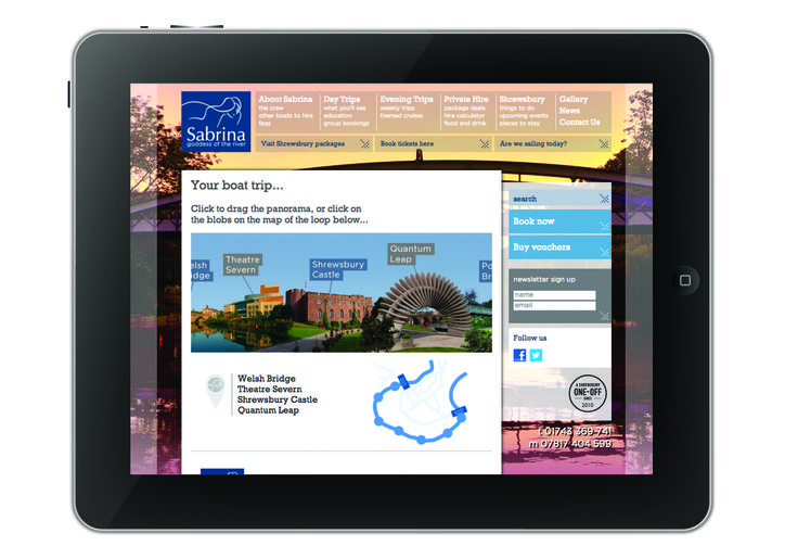 Sabrina Boat... Web Design & Program for Shrewsbury's top tourist attraction. #SourceDesign #Shrewsbury #WebDesign