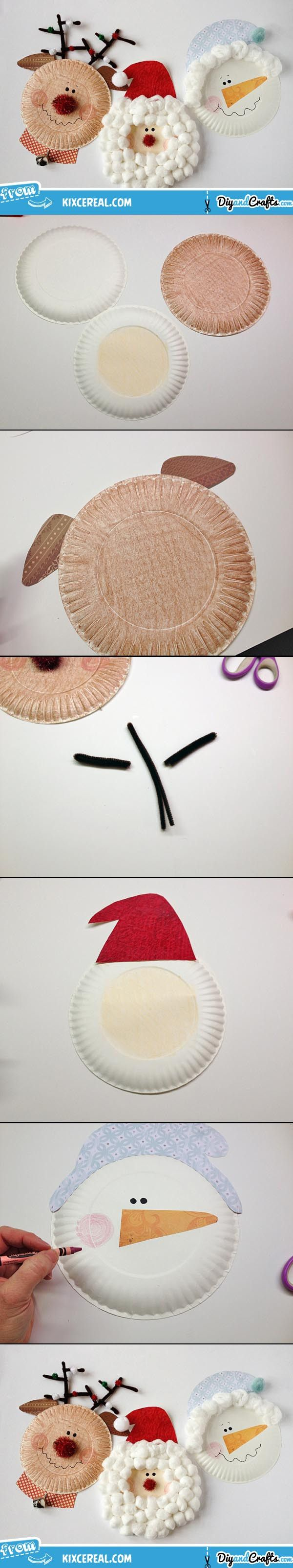 DIY Paper Plate Christmas Characters: Santa, Rudolph, Snowman