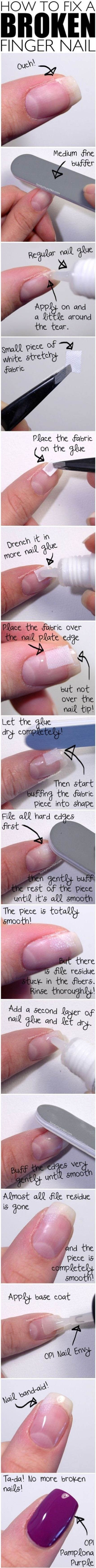The next time your nail breaks, don't panic. There are several tricks you can use to fix the damage.