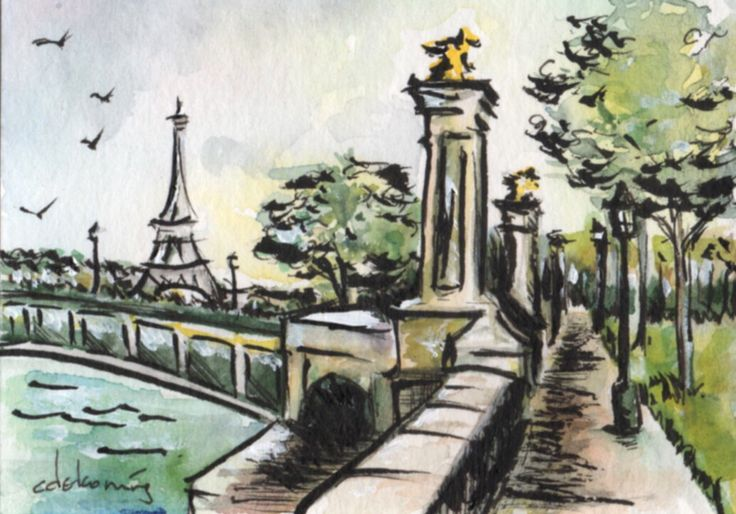 Paris Eiffel Tower river walk watercolour and ink painting by Christy Obalek.  ACEO size (trading card): 2.5x3.5""