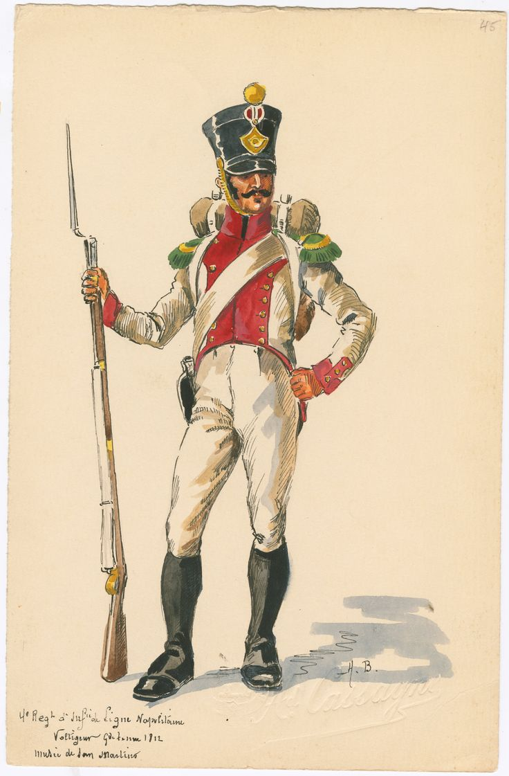 Kingdom of Naples; 4th Line Infantry, Voltigeur in Grand Tenue, 1812 by H.Boisselier.