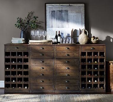 Wallace Reclaimed Wood Buffet With 2 Wine Bases And 2 Cabinet Bases  #potterybarn