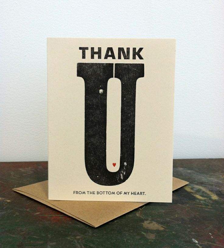 Heart Thank You Letterpress Card