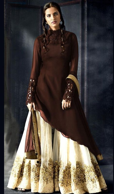 Chocolate Color Georgette Palazzo Suit