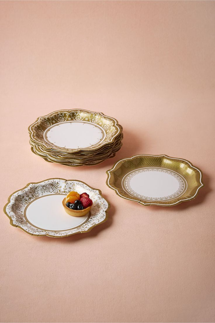 Gold Porcelain Paper Dessert Plates (set of 12) from @BHLDN