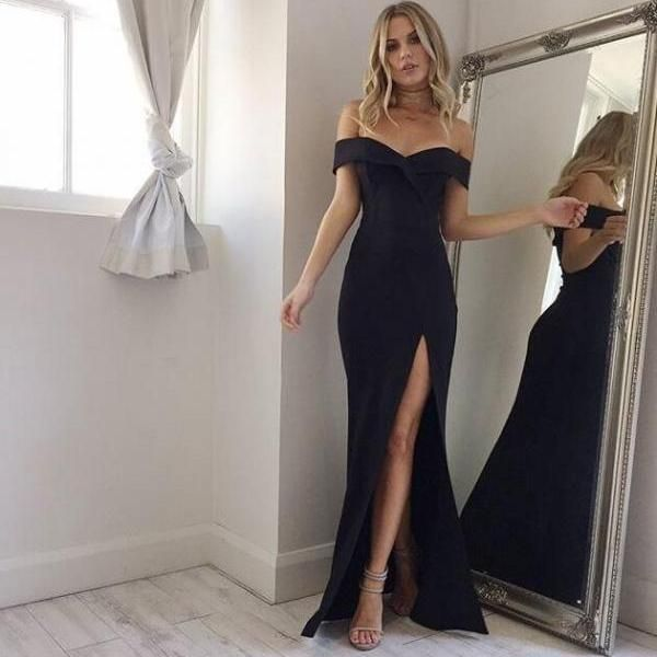 Elegant Black Off Shoulder Mermaid Prom Dress,Slit Side Evening Dress,Floor Length Prom Dresses