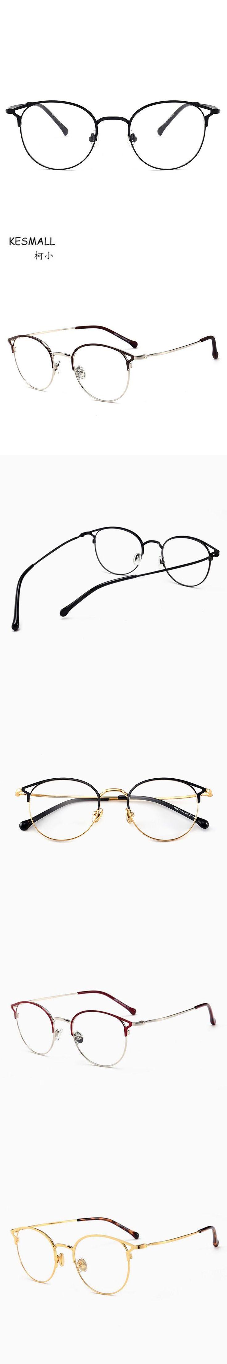 KESMALL Newest Alloy Glasses Frame High Quality Clear Lens Eyewear Men Women Gold Color Eyeglasses Frames Marco De Lentes XN561