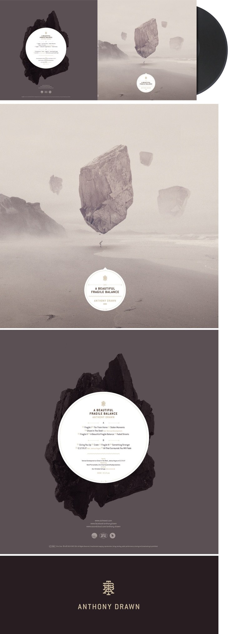 ARO / Christian Schupp - A beautiful fragile balance LP cover (Anthony Drawn)