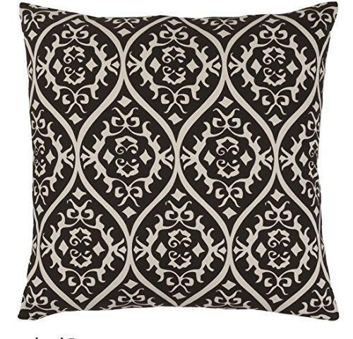18x18 Black White Floral Throw Pillow Jacquard Geometric Flower Pattern Shabby Chic French Country Damask Paisley Motif Theme Pillows Modern Throws